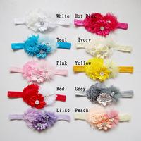 Min order 50 pcs tulle fabric peony flower headband baby girl DIY flower bling rhinestone headwear kids hair accessories