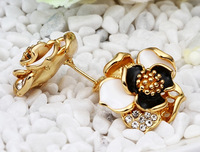 Free shipping!!! Jewelry Earring,2014 Fashion Jewelry, Zinc Alloy, Flower, real gold plated, stoving varnish & with rhinestone