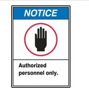 whole sale (500pcs /lot) blue color notice mark Authorized personnel only No Admittance sign pyrotechnics warning label sticker