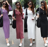 2014 New Female Autumn Winter Loose Lobe Vestidos Long Sleeves V-neck Elastic Casual Dresses Thicken Oversized Women Long Dress