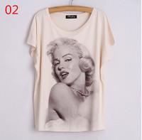 latest sexy beauty Character printed t-shirt woman summer t shirts 3d pullover tops bat sleeve tee shirt loose t shirt free ship