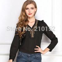 2014 Explosion Models Women Shirt Summer Y-Type V-Neck Slim Solid Color long-Sleeved Chiffon Shirt Copper For Women Blouse
