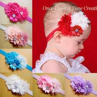 Trail Order 10PCS/LOT Infant Toddler Baby Headbands Satin Ruffled Flower Headbands Baby Girls Hair Accessories