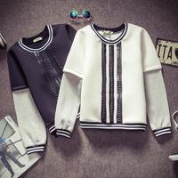 Wholesale Structured Men winter neoprene leather decoration patchwork sleeve sweater sweatshirt pullover N50085