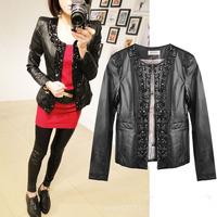 Korea Design Female Autumn Slim Fashion Outwear Chaquetas Mujer Diamonds Motorcycle Blazer Women Jacket Faux Leather Coat Black