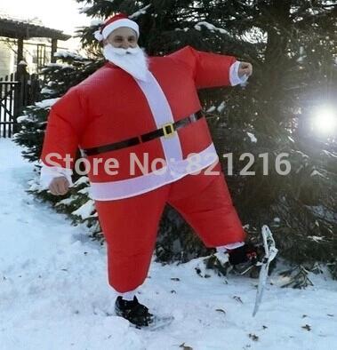 Christmas Inflatable Santa Claus Costume Carnival Costume Uniform Performance Evening Dress(China (Mainland))