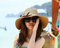 1 piece new  top salling Women Foldable Wide Large Brim Floppy Summer Beach Sun Straw Hat Cap 3 colour