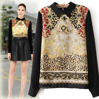 Women Black Retro Blouses & Shirts Turn-down Collar Dazzle Printed Back Zipper Long Sleeve Pullover Casual Tops Free Shipping