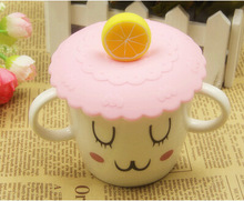 1pcs Fruit Cartoon Pattern Anti dust Creative Silicone Cup Cover Antiskid Candy Color Cup Cover Coffee