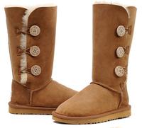 Fashion Womens Boots Winter Three Button Sheepskin High Boots1873 snow boots