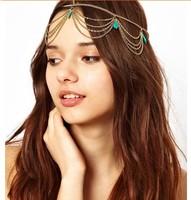 2014 New Hot Women Resin Metal Head Chain Headband Headpiece Hairband Hair Accessories Accessory Jewelry 6pcs/ Per Lot Free ship