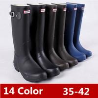 Drop Shipping 2014 Women Fashion Brand Low Heels Waterproof Wellies Water Boots High Top Long Rainboots Rain Shoes14 color