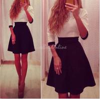 2015 new fashion women dresses high waist matching mid-sleeve pleated casual mini dress vestidos