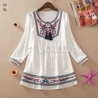 2014 summer shirt women's plus size shirt cute loose shirt national trend embroidered shirt
