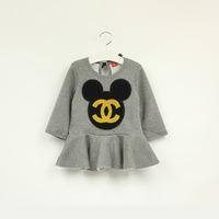 2014 autumn winter mickey minnie cotton fleece girls european brand dress children's clothing wholesale 5pcs/lots