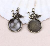 10pcs/lot vintage Duck pendant antique bronze cabochon base pendant cabochons setting Jewelry