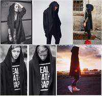 Men and women hoodies cloak Hip Hop Streetwear long black clothing classic hoodie drawstring personality pocket New Fashion
