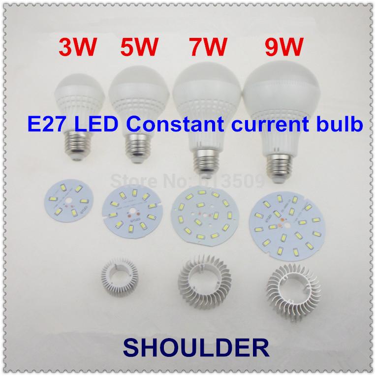 Constant current driver AC 85-265V +5 pcs/lot 9W E27 +18pcs SMD5730 LED taiwan chip LED ball bulb(China (Mainland))
