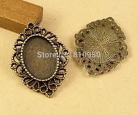 28pcs  Inner:13x18mm  Alloy Antique Bronze Blank Flower Pendant Cameo base Setting