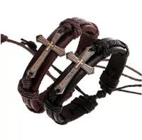 Stylish Men's Leather Braided Bracelets Titanium stainless steel Bible Cross Wristband Hemp Lover's Handmade women New 24pcs
