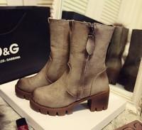 2014 winter fashion side zipper plus velvet finishing vintage retro thick heel platform boots ankle boots