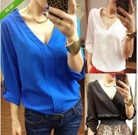 Women  Long-Sleeve Sexy V-Neck Chiffon Solid Color  Blouse Shirt Plus Size shirts  Female Clothing