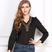 Women Fashion Spring  Hitz Solid Color  V-Neck Plus Size Long-Sleeved T-Shirt Fashion Retro Copper Chiffon Ladies Blouse Shirts