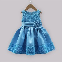 New Year Children's Party Dresses Flower Rose Princess Girls Ball Gown Dress With Bow Satins Sleeveless Kids Evening Dress DS021