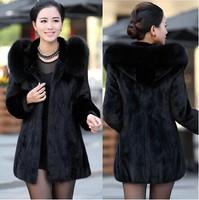 2015 New Winter warm Women's Rabbit Fur Coat Fox Fur Collar Medium-long Hooded Fur Coats Plus Size S-4XL Overcoat LSJ-040