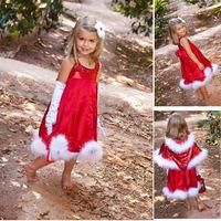 2014 Girl Christmas Dresses Christmas Santa Claus Dresses Frozen Elsa Anna Princess Shiny Dress 10pcs/Lot DHL Free Shipping