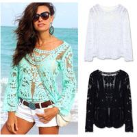 FanShou Free Shipping 2014 Women Blouses Spring Summer Fashion Crochet Lace Tops Hollow Out Lady Lace Shirt Lace Blouse Blusas