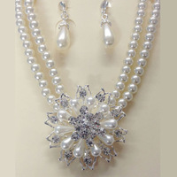 Free shipping Fashion Jewelry 2015 Hot Top major suit Imitation pearls Wedding Jewelry Sets Necklace Pendant Earring For Women