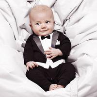 Wholesale 4 pcs/lot new born baby cotton gentleman climb clothes cute boys suit bow tie rompers kids terry black white jump suit