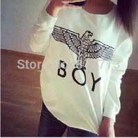 New 2014 women cute Hoodie boy london letter pattern top Pullover fall Long sleeve t-shirt M L