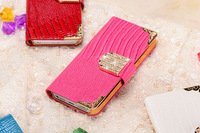 30 pcs/lost Luxury Rhinestone Wallet Bling PU Leather Case For iPhone 6 Plus Diamond Covers New Phone Bags