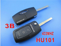 Promotion Brand New Folding Flip Remote Key FOB TRANSMITTERS 3 Button For Ford Focus Fiesta C Max Ka 433MHZ HU101 Uncut Blade