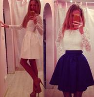 Hot New Lady Sexy Lace Dresses Bow Belt Party Clubwear Vestidos Women Long Sleeve Dress