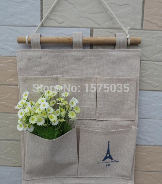 (1Pc/Lot) Zakka Cotton Lien Fabric Hanging 5 Pockets Tower Storage Bag(China (Mainland))