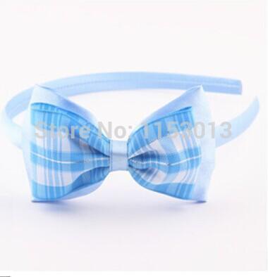 {Min.Order $15} 20pcs/Lot New Kids/Girl/Princess/Baby Plaid Ribbon Bow Hair Headband/Hair Accessories(China (Mainland))