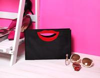 Free ship Hot Black cloth-sided personality big red lips ladies hand bag handbag briefcase