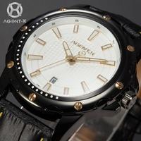 AGENTX Calendar Auto Date Display Mens Casual Wristwatch Analog Leather Strap Relogio Japan Movement Quartz Watch Men / AGX119