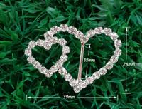 15mm inner bar,20pcs/lot  Craft Heart Buckle Diamante Rhinestone DIY Wedding Ribbon Buckle Bridal Invitation Supplies A12