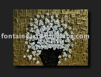 Heavy Textured Abstract Flower oil Painting-white blossom