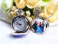 Anime Frozen women quartz Pocket watch necklace fashion silver color alloy beautiful pendant chain