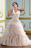 New style sweetheart  V- neck  Ruffled organza ruched bridal dress/  backless sexy wedding dress/ wedding gown / wedding dress