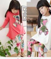 Hot sell autumn new 2014 girls bear long-sleeve t-shirt + flower legging clothing set cotton kids clothes sets