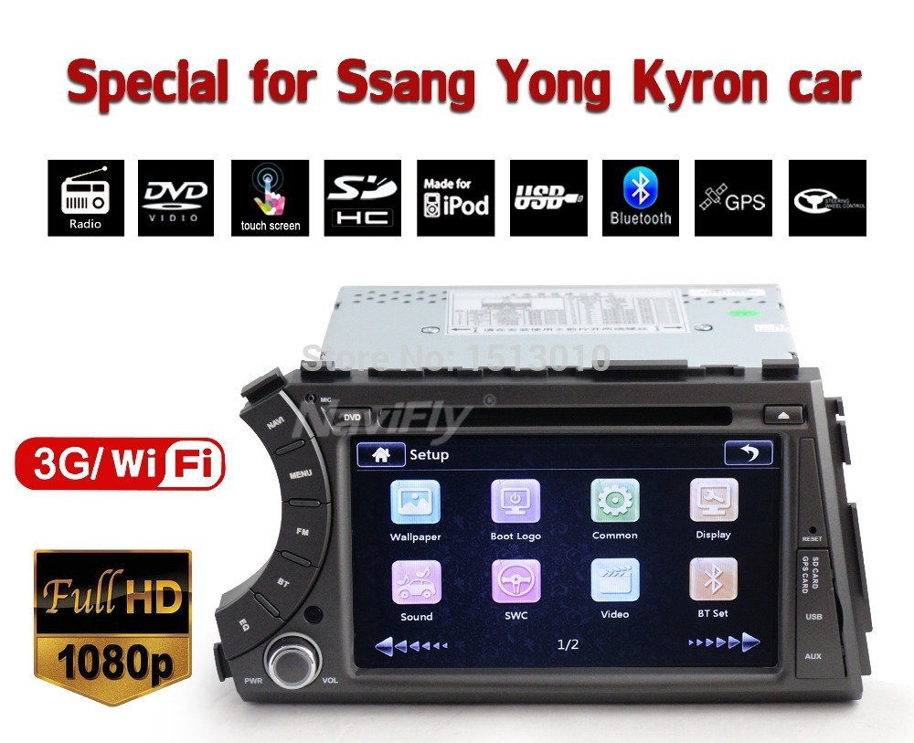 3G wifi+Factory price!+CAR DVD/cassette /recorder palyer fo Ssangyong Kyron/Actyon with DVD,RADIO,GPS,IPOD,BT.USB +map gift(China (Mainland))