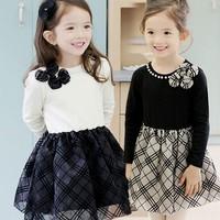 2015 Children Princess Dress Pure Cotton Bowknot Grid Girl Tutu Dress Korean Long Sleeve 100-140 3-8Age Kids Clothing Wear TR26