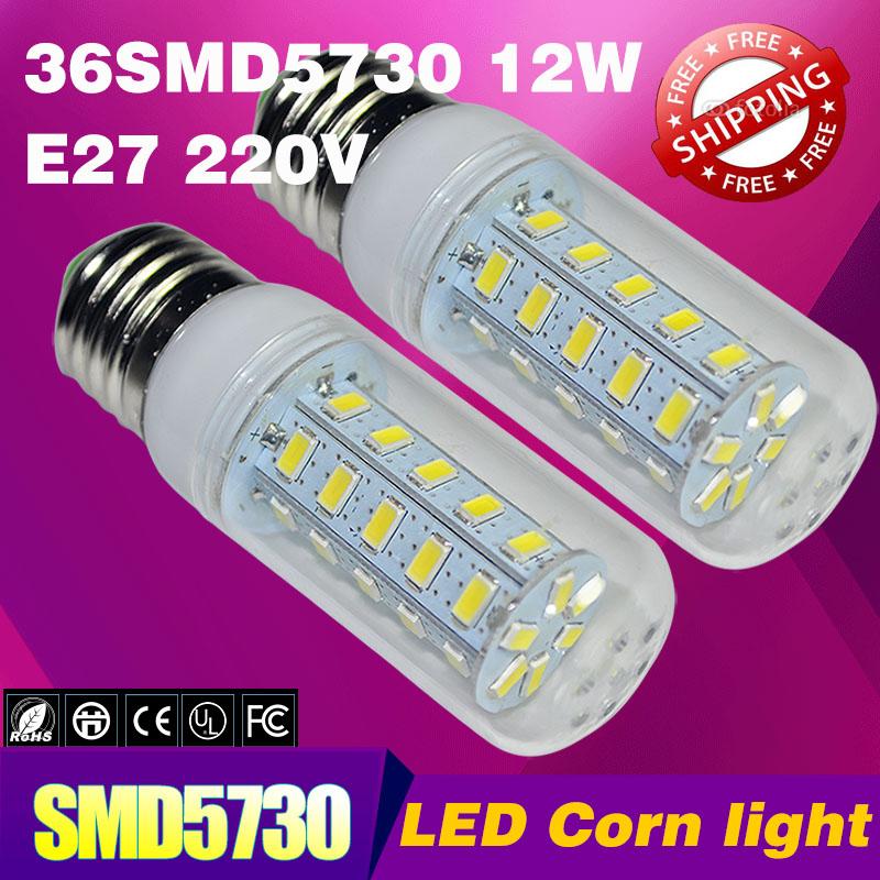 1pcs / lot Hot sale 12W SMD5730 36LED E27 LED bulb warm white / white E27 220V SMD 5730 LED corn light lamp, lamp, free shipping(China (Mainland))