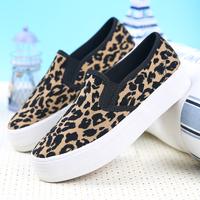 2015 Hot Leopard Print Canvas shoes women platform Sneakers casual skateboarding shoes pedal women's shoes